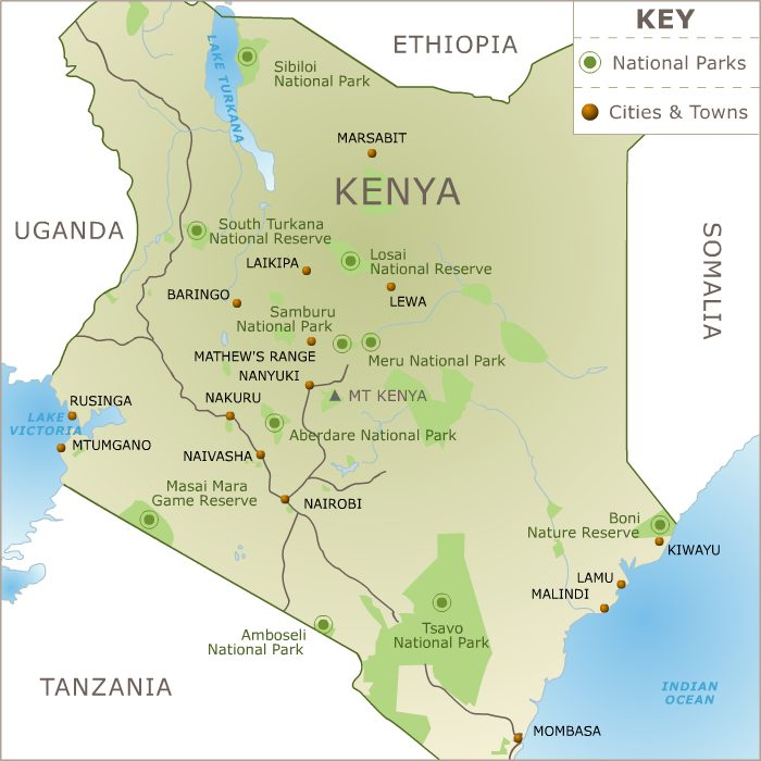 Kenya National parks and Game Reserves locations
